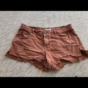 Free people distressed jean shorts size 30